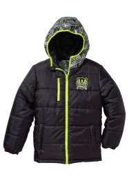 Wendesteppjacke, bpc bonprix collection, schwarz/neongelb