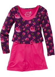 Kleid + Layershirt (2-tlg.Set), bpc bonprix collection, dunkelpink bedruckt