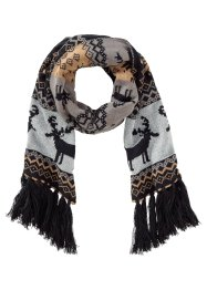 Strickschal X-Mas, bpc bonprix collection, schwarz/silber