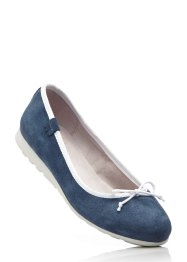 Lederballerina, bpc bonprix collection, blau/cremeweiss