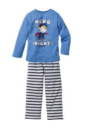 Pyjama (2-tlg. Set), bpc bonprix collection, himmelblau/hellgrau meliert