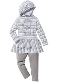 Robe à capuche + legging (Ens. 2 pces.), bpc bonprix collection, blanc/gris clair chiné rayé