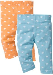 Lot de 2 leggings 3/4, bpc bonprix collection, bleu topaze + abricot