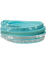Wickelarmband Kette + Strass, bpc bonprix collection, hellblau