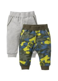 Lot de 2 pantalons sweat bébé en coton bio, bpc bonprix collection, camouflage/gris clair chiné