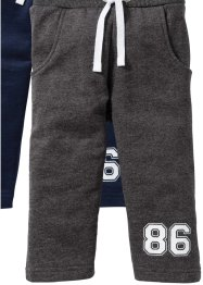 Lot de 2 pantalons sweat bébé en coton bio, bpc bonprix collection, bleu foncé/anthracite chiné