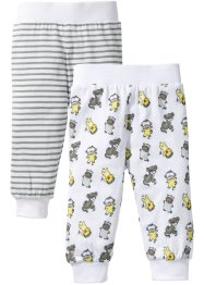 Lot de 2 pantalons bébé en coton bio, bpc bonprix collection, blanc/gris neutre