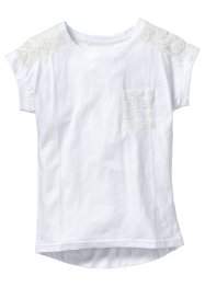 T-shirt avec dentelle, bpc bonprix collection, blanc