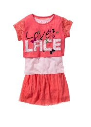 T-shirt boxy, top + jupe (Ens. 3 pces.), bpc bonprix collection, fuchsia clair/rose poudré imprimé