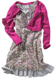Kleid + Shirtjacke (2-tlg.), bpc bonprix collection, mattsilber/rosa/fuchsia geblümt