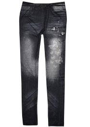 Buffalo Jeans Leggings, Buffalo, Jeansblau mit Schmetterlingsdruck