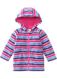 Baby Fleecejacke, bpc bonprix collection, lila/mittelblau/dunkelpink gestreift