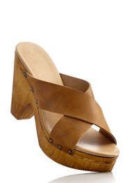 Lederpantolette, bpc bonprix collection, cognac