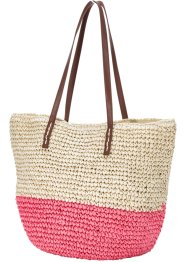 Sac raphia Holiday Feelings, bpc bonprix collection, écru/fuchsia clair