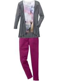 Shirt + Cardigan + Leggings (3-tlg.), bpc bonprix collection, wollweiß/rauchgrau/violett