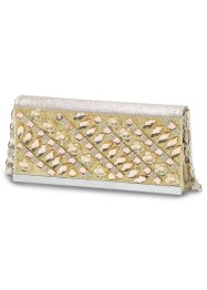 Abendclutch mit Strassstein-Mix, bpc bonprix collection, gold glitter
