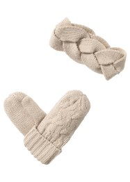 Set Stirnband + Handschuhe, bpc bonprix collection, beige