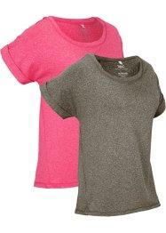 Modernes Sport-Shirt, 2er-Pack, kurzarm, bpc bonprix collection