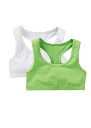 Lot de 2 brassières, bpc bonprix collection, vert anis/blanc