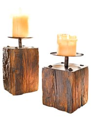 "Kerzenhalter-Set ""Wood"" (2-tlg.) (Home Collection)"