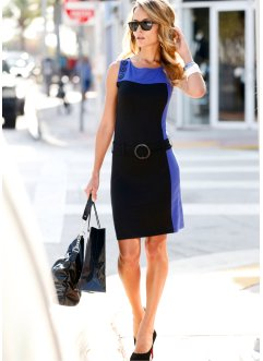 Vestido color blocking com cinto