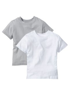 T-shirt (2-pack), bpc bonprix collection, matt silver+vit