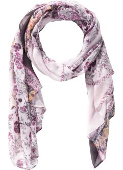 Schal mit Blumenprint, bpc bonprix collection, pink/grau