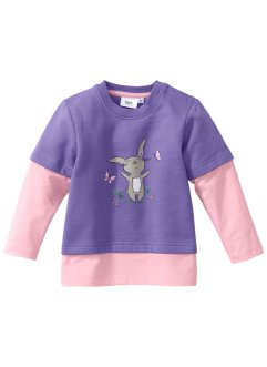 Sweat-shirt bébé en coton bio, bpc bonprix collection, mauve/blanc