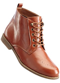 Schnürstiefelette in 2 Weiten, bpc bonprix collection, cognac
