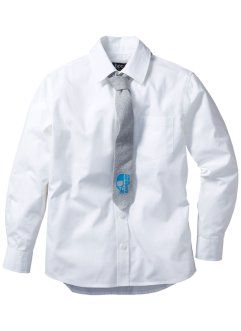 Chemise + cravate (Ens. 2 pces.), bpc bonprix collection, blanc/gris chiné