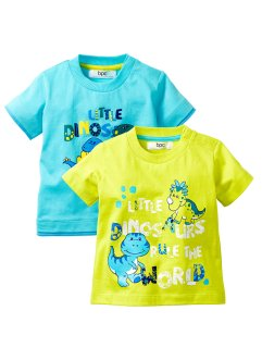 Lot de 2 T-shirts bébé, bpc bonprix collection, bleu ciel/vert citron