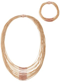 2tlg. Schmuckset Collier + Armband, bpc bonprix collection, beige/roségoldfarben