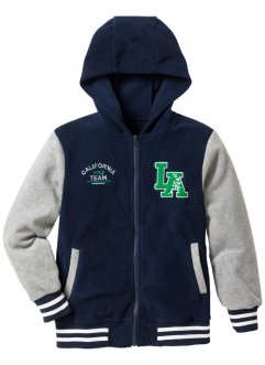 Fleece Baseball Jacke, bpc bonprix collection, dunkelblau/hellgrau meliert