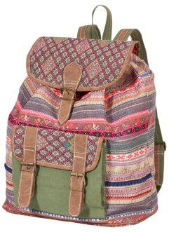 Rucksack gemustert, bpc bonprix collection, rot/grün/blau