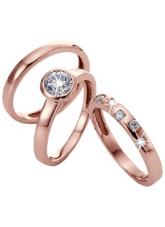 Ringe im 3-teiligen Set, bpc bonprix collection, roségoldfarben