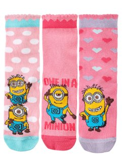 """MINIONS"" Socken (3er-Pack), bpc bonprix collection, rosa/pink/hellblau"