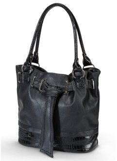 Tasche in Kroko-Optik, bpc bonprix collection, schwarz