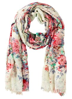 "Schal ""Fleur"", bpc bonprix collection, creme/rosa"
