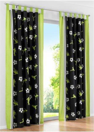 fantastischer vorhang f r alle kleinen sportler gr n. Black Bedroom Furniture Sets. Home Design Ideas