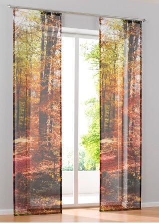 der wald direkt am fenster mit der schiebegardine forest herbst. Black Bedroom Furniture Sets. Home Design Ideas