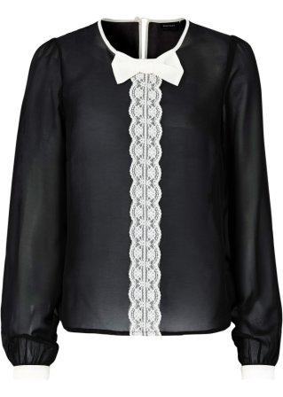 transparente bluse mit schleife schwarz wei. Black Bedroom Furniture Sets. Home Design Ideas