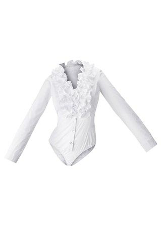 Заказать в Интернет-магазине bonprix.kz Боди белый - RAINBOW от 3990 тг. Тренд: рюши. Красивое боди в стиле блузки