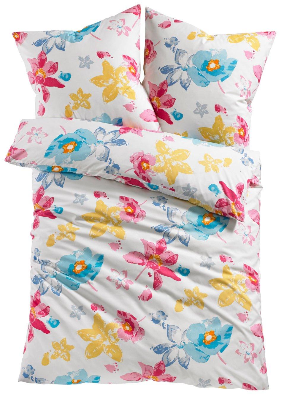 neu 2 tlg bettw sche set garnitur blumen flowers fr hling. Black Bedroom Furniture Sets. Home Design Ideas
