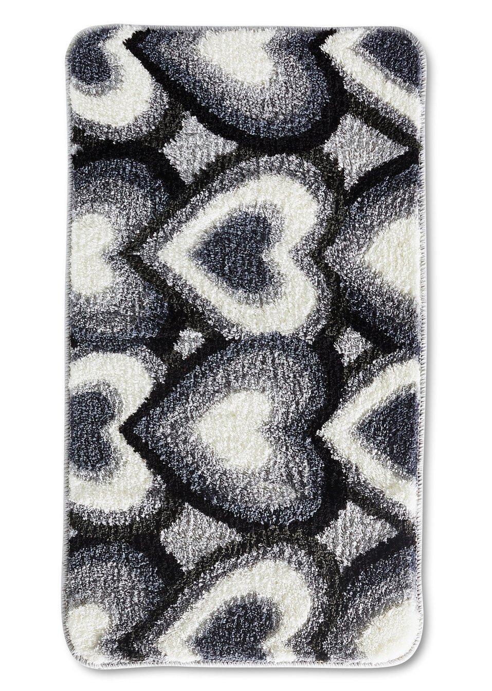 badematte heart schwarz wei wohnen. Black Bedroom Furniture Sets. Home Design Ideas