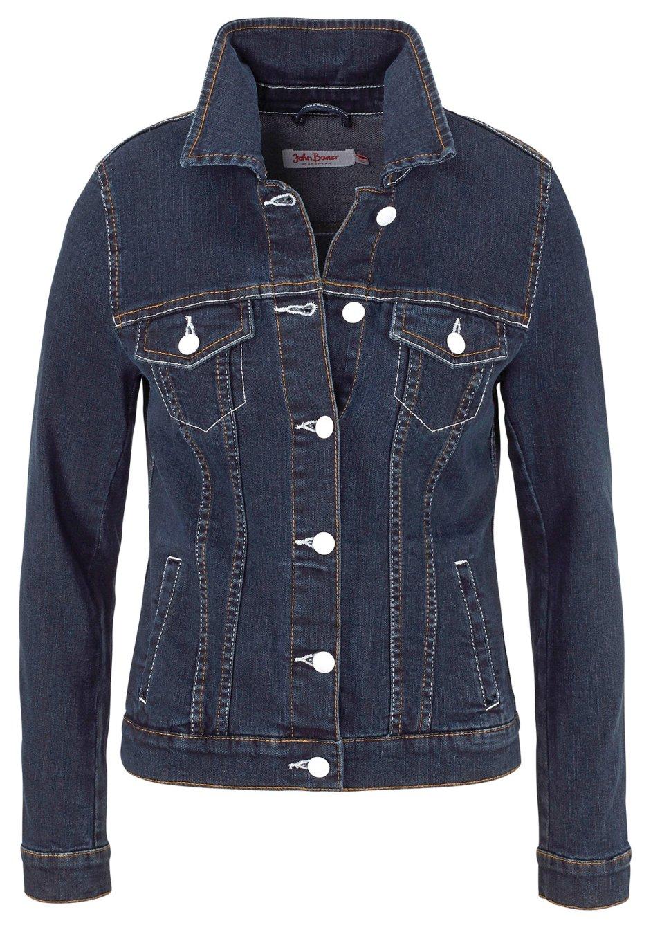 l ssige jeansjacke aus stretch mit taschen dunkelblau