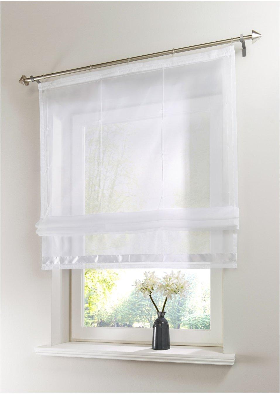 klassische optik mit h bschem satindetail raffrollo kelly wei klettschiene. Black Bedroom Furniture Sets. Home Design Ideas