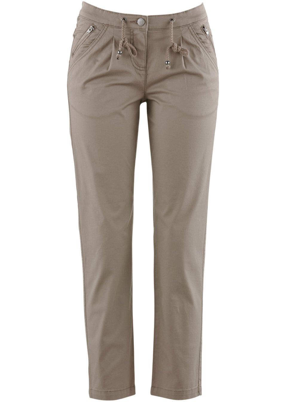 pantalone 7 8 con cerniere marroncino donna. Black Bedroom Furniture Sets. Home Design Ideas