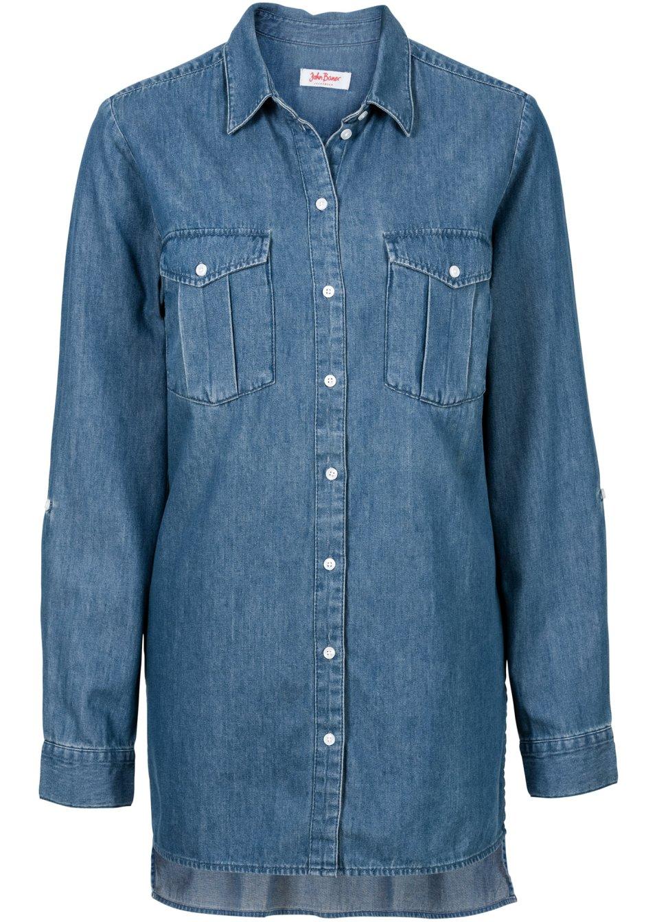L ssiges hemd mit brusttaschen blau for Jeanshemd lang damen