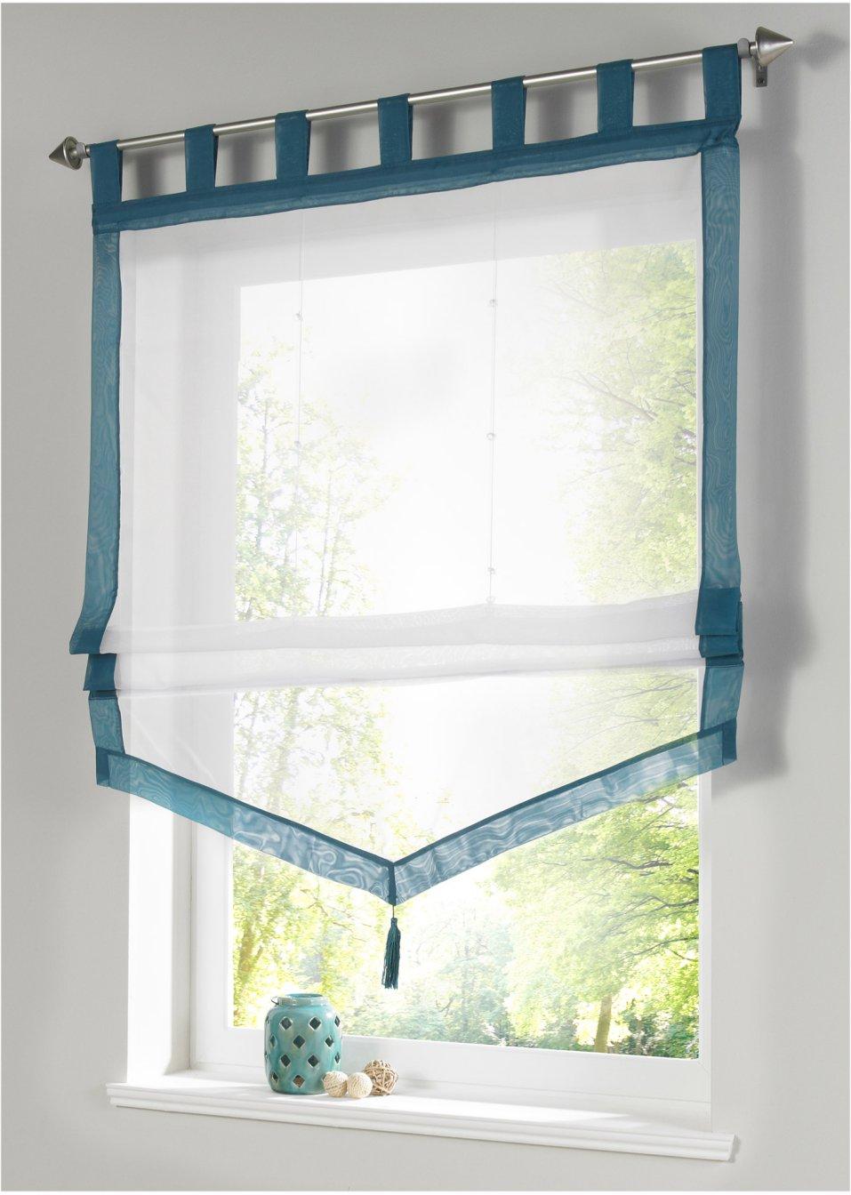 raffrollo sylt in toller wimpelform ein dekorativer rahmen f r ihr fenster aqua schlaufen. Black Bedroom Furniture Sets. Home Design Ideas