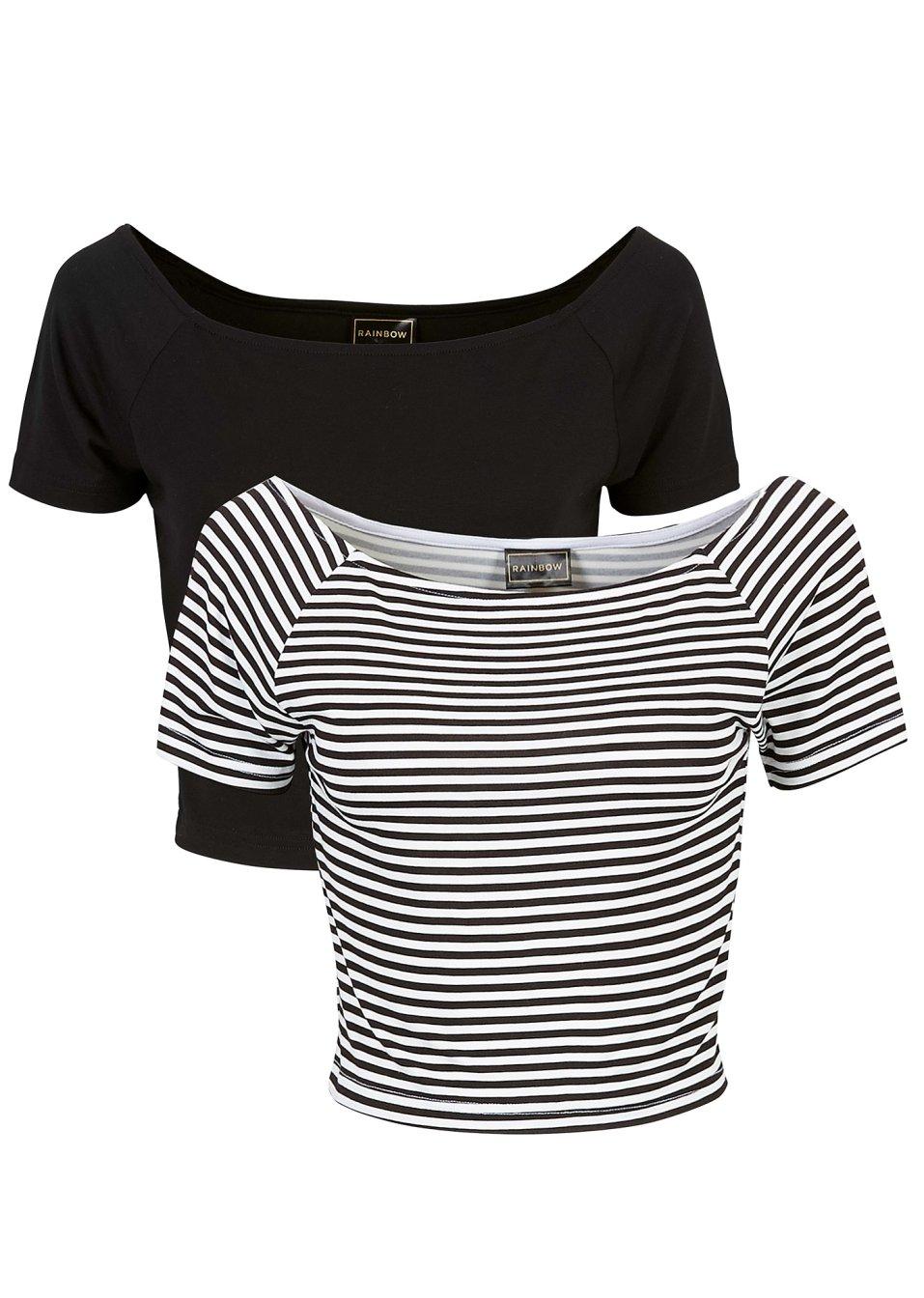 attraktives shirt mit carmen ausschnitt schwarz wei. Black Bedroom Furniture Sets. Home Design Ideas